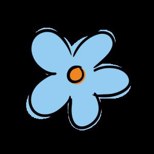 青色の花のイラスト無料素材