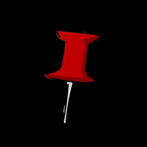 赤い画鋲のイラストのフリー素材