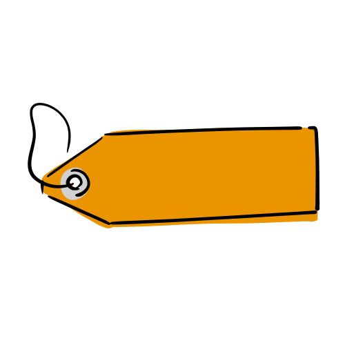 オレンジのタグのフリー素材(無料)
