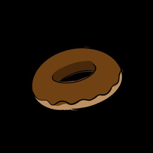 チョコレートドーナツのフリーイラスト素材