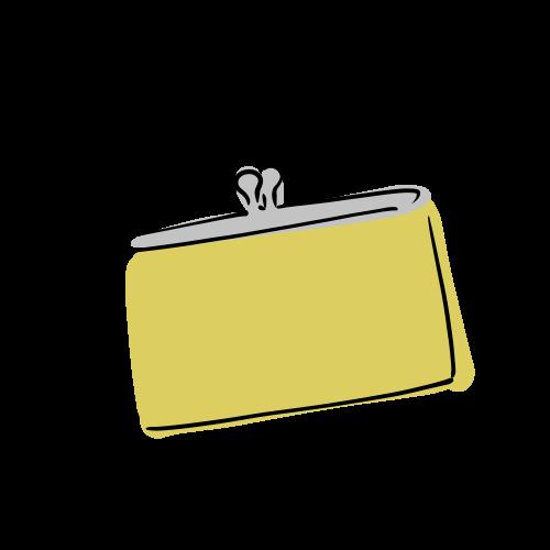 黄色い財布のイラストのフリー素材